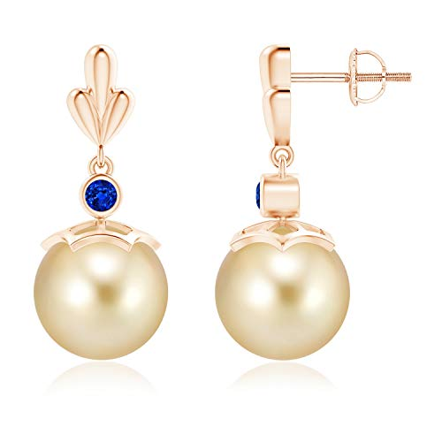 Golden South Sea Cultured Pearl & Sapphire Pear Motif Earrings in 14K Rose Gold (10mm Golden South Sea Cultured Pearl)