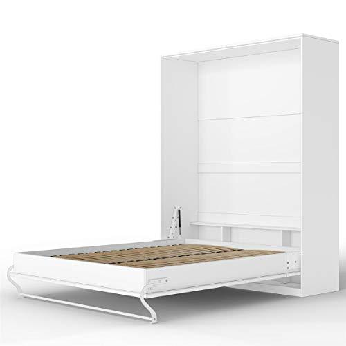 Letto Ribaltabile.Smartbett Standard Letto A Scomparsa Letto Ribaltabile Letto A Muro Bianco Opaco 160x200 Verticale Comfort