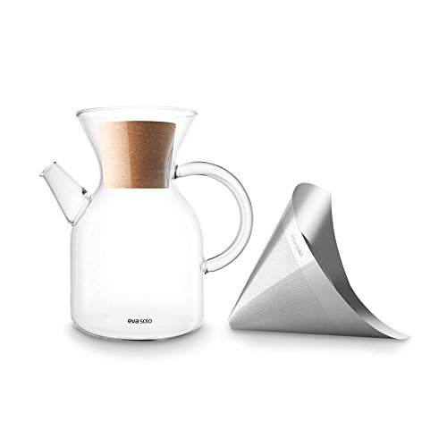 (Eva Solo - Glass Pour Over Coffee Maker with Reusable Stainless Steel Filter - 1.0 L)