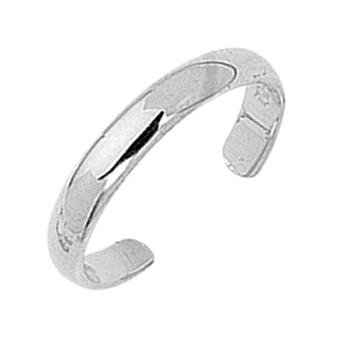 Ritastephens 14k White Gold Shiny High Polished Plain Band Toe Ring Adjustable
