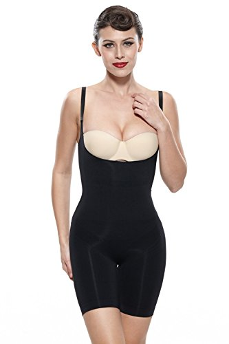 Franato Women's Firm Control Slimming Bodysuit Shapewear,Black,Large