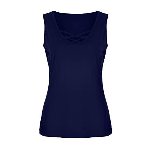 NCCIYAZ Womens Vest Tank Sleeveless Solid Plain Crisscross O-Neck T-Shirts Blouse Ladies Tops Plus Size Oversized(6XL(16),Dark Blue)