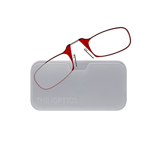 ThinOptics Reading Glasses + White Universal Pod Case | Red Frames, 1.50 Strength Readers