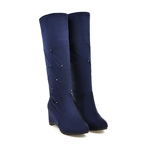 Inside Flatform Boots Urethane Thigh Womens BalaMasa ABL09704 Ruched Ruched High Blue Heighten wqEIwBR