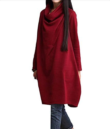 Formato Da Donne Vestito Allentato Solido Mogogo Lunga Vino Medio Autunno lungo Manica Il Più Rosso gHnqwUzX