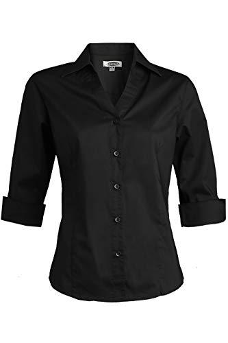 - Edwards Ladies' Tailored V-Neck Stretch Blouse 3/4 Sleeve Medium Black