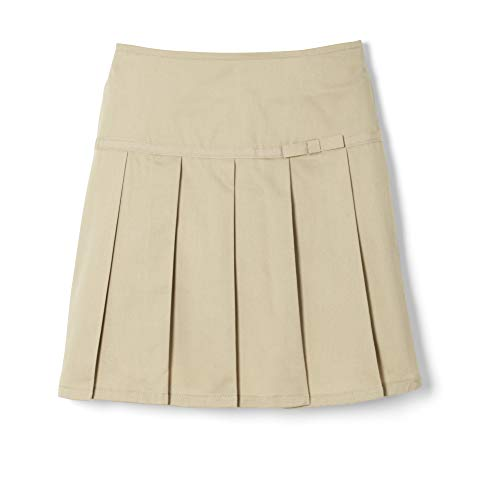 (French Toast Big Girls' Pleated Scooter with Gross Grain Ribbon, Khaki, 10)