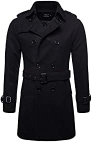 AOWOFS Men's Trenchcoat Wool Blend Winter Long Double Breasted Overcoat Slim Fit Warm with Belt B