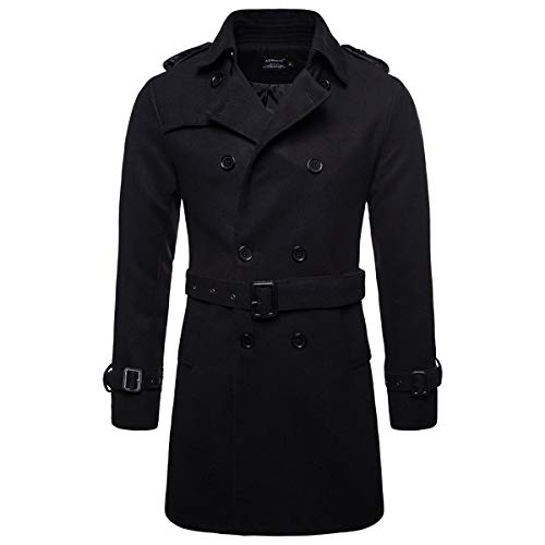 AOWOFS Men's Trench Coat Woolen Winter Long Double Breasted Overcoat Slim Fit Warm Pea Coat Black