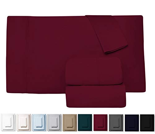 Kemberly Home Collection 600 Thread Count 100% Long Staple Egyptian Pure Cotton - Sateen Weave Premium Bed Sheets, 4 - Piece Burgundy King- Size Luxury Sheet Set, Fits mattresses Upto 18