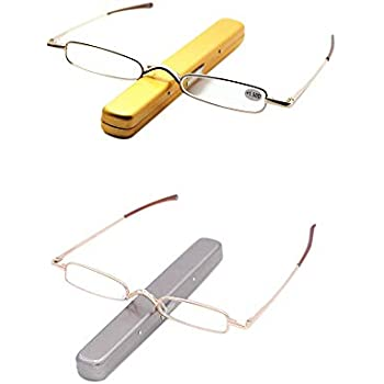 0c2ba982a70 Reading Glasses 2 Pairs Metal Frame Mini Readers with Spring Hinge Portable  Pen Clip for Men