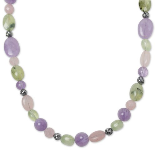 Carolyn Pollack Sterling Silver Purple Amethyst, Rose Quartz and Green Prehnite Gemstone Beaded Necklace 17 to 24 Inch