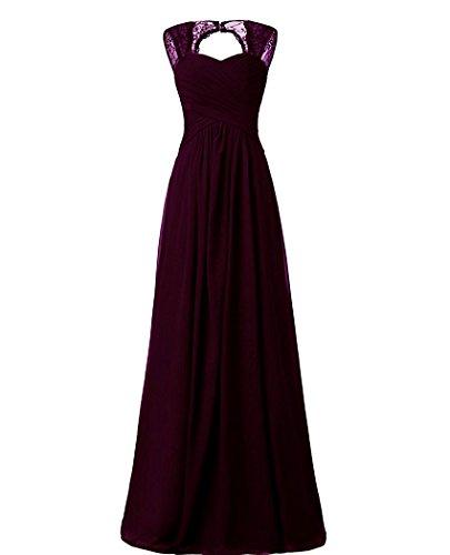 Hochzeitskleid Cocktail Traube Brautjungfernkleider Beonddress Abendkleider Party Ballkleid Damen Lang Chiffon 0TqYzT