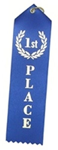 Award Ribbon (1st Place (Blue) Award Ribbons with a Card and String (24))