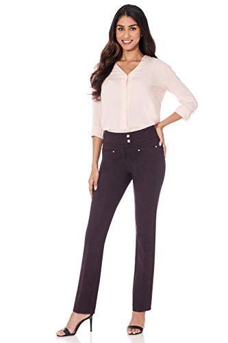 Rekucci Women's Secret Figure Pull-On Knit Straight Pant w/Tummy Control (10,Charcoal/Burgundy Herringbone) ()