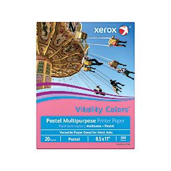 Xerox(R) Vitality Colors(TM) Multipurpose Printer Paper, Letter Size Paper, 20 Lb, 30% Recycled, Cherry, Ream of 500 Sheets by Xerox