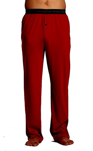 (CYZ Men's 100% Cotton Jersey Knit Pajama Pants with Elastic Waistband-Burgundy-XL)