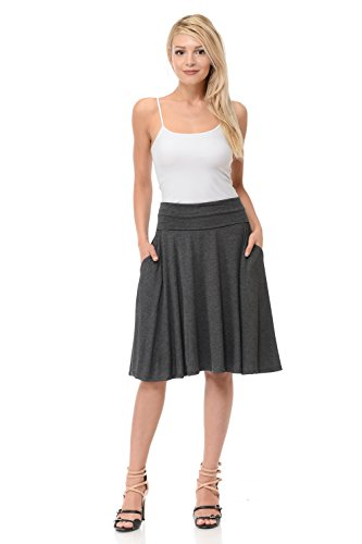 Soft Stretch Skirt - iconic luxe Women's Jersey Full A-Line Midi Skirt With Pockets Small Charcoal