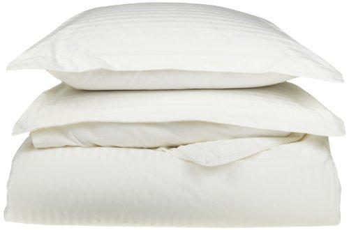 - 100% Egyptian Cotton 650 Thread Count King/California King 3-Piece Duvet Cover Set, Single Ply, Stripe, White