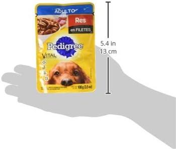 PEDIGREE alimento húmedo para perros adultos. Sabor: Res en Filetes. Contiene 10 sobres 6