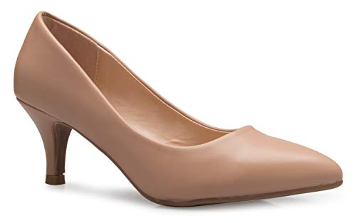 - OLIVIA K Women's Classic D'Orsay Closed Toe Kitten Heel Pump - Casual, Comfort