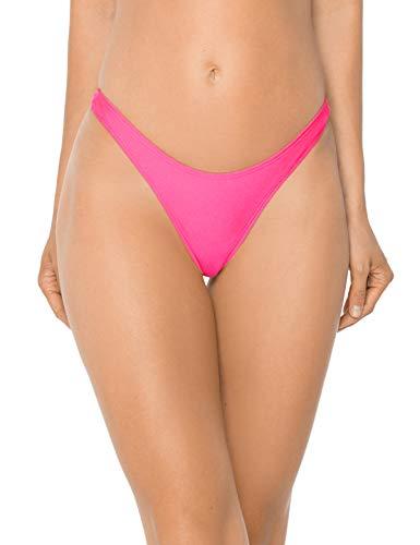 RELLECIGA Women's Neon Rose High Cut Thong Bikini Bottom Size Large