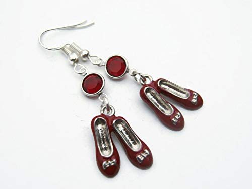 Enameled Ruby Slippers Birthstone Earrings, Personalized Dorothy Earrings, There's No Place Like Home Jewelry]()