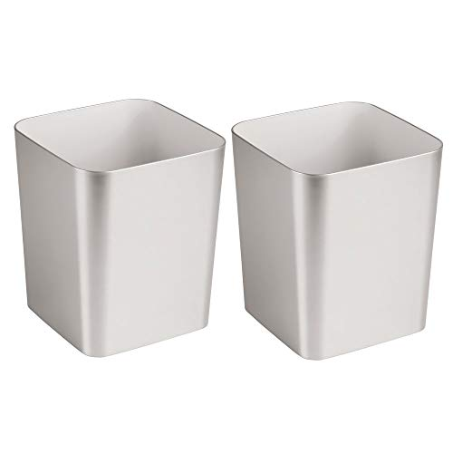 Square Wastebasket - mDesign Square Shatter-Resistant Plastic Small Trash Can Wastebasket, Garbage Container Bin for Bathrooms, Powder Rooms, Kitchens, Home Offices - 2 Pack - Brushed