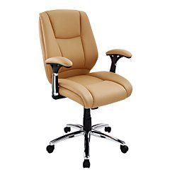 Cheap Realspace(R) Eaton Mid-Back Bonded Leather Chair, Tan/Black