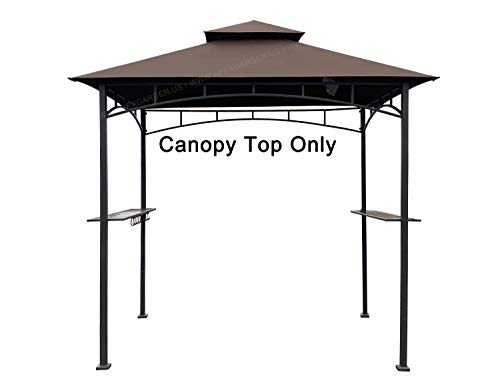 APEX GARDEN Replacement Canopy Top for Model #L-GG001PST-F 8' X 5' Brown Double Tiered Canopy Grill BBQ Gazebo (Canopy Top Only)