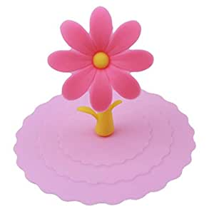 sunflower lace dust reusable silicone stitching seal cap drinking water cap-pink