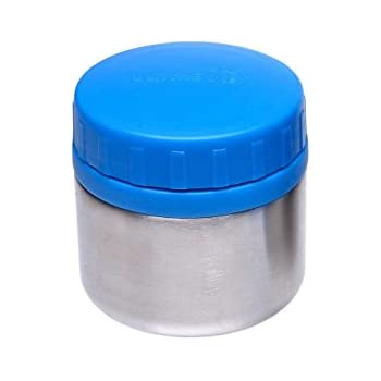 LunchBots Rounds Stainless Steel Food Container (8 oz) - Leak-Proof Food Jar for Lunch, Yogurt, Snacks and Sides - Eco-Friendly, Dishwasher Safe and BPA-Free - Royal Blue