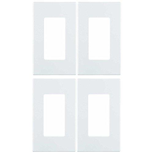 Screwless Gang Leviton 1 - Leviton 80301-SW 1-Gang Decora Plus Wallplate Screwless Snap-On Mount (4 Pack, White)