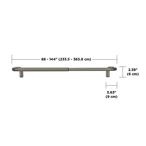 "Umbra Twilight Room Darkening Curtain Rod – Wrap Around Curtain Rod Perfect for Blackout Curtains, Telescoping Curtain Rod, 88"" to 144"", Nickel"