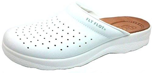 FLY FLOT CIABATTE SANITARIE UOMO art.90223028 BU pelle bianco