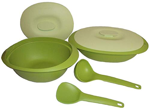 - Tupperware Legacy Blossom Microwave Serving Casserole Dish and Soup Tureen Set Green