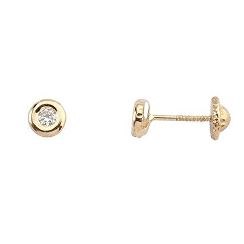 Boucles d'oreilles 18k boucles d'oreilles en or zircone flans à vis de lunette [5252]