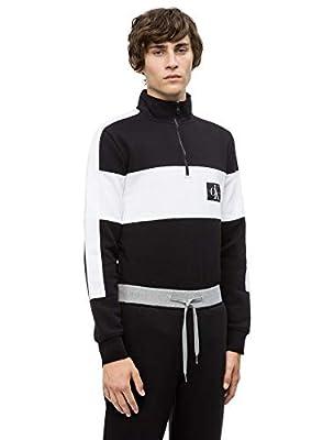 Calvin Klein Jeans Men's Europe Colorblock Monogram Half-Zip Sweatshirt