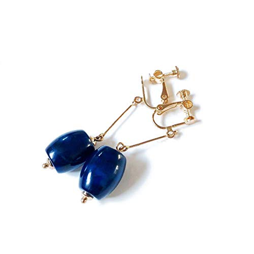 JYEMDV Natural Blue Agate Stone Ear Clip Delicate Earrings Retro Without Pierced Can Also Wear Jewelry Accessories