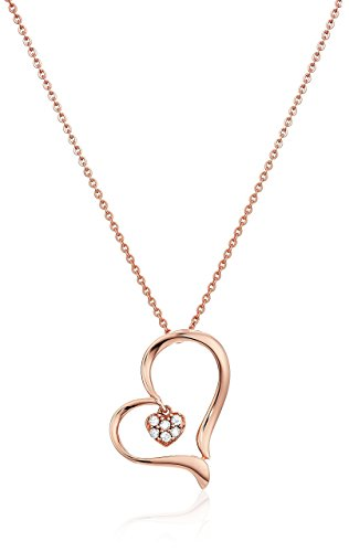 1/20 cttw Diamond Heart Pendant In 14K Rose Gold with 18 Inch Chain -