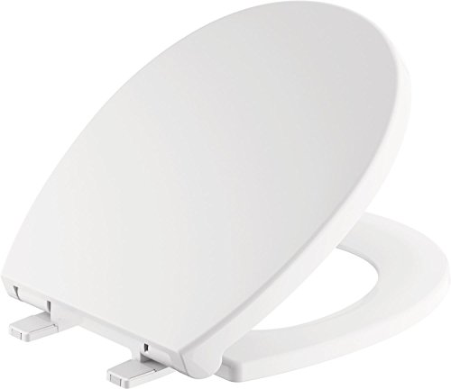 (Delta Faucet 801903-WH Morgan Round Front Slow-Close Toilet Seat with Non-Slip Seat Bumpers, White)