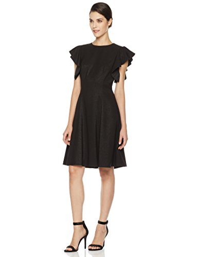 Social Graces Women's Crew Neck Flutter Short Sleeve Fit and Flare Dress 10 Black (Cocktail Dress Women)