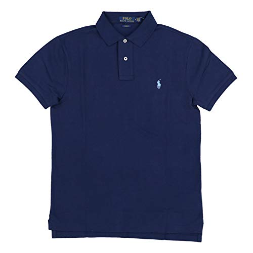 Polo Ralph Lauren Men's Slim Fit Pique Mesh Polo Shirt (Small, Navy/Blue (Light Blue Pony))