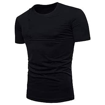 Men Fashion Stitched Short Sleeve T-Shirt Splicing Cool Sports Round Neck T-Shirt