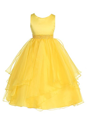 Chic Baby Girls Asymmetric Ruffles Satin/Organza Flower Girl Dress -Yellow-8-(CB302)