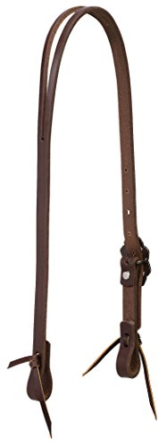 (Weaver Leather Working Tack Slit Ear Headstall with Buffed Brown Iron Hardware)
