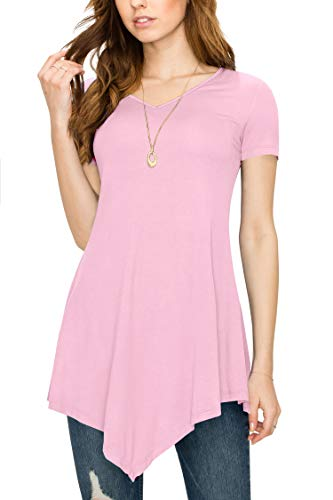Made By Johnny MBJ WT638 Womens V Neck Asymmetrical Tunic Top XXXL Pink