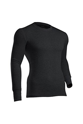 ColdPruf Men's Platinum II Performance Base Layer Long Sleeve Crew Neck Top, Black, Large