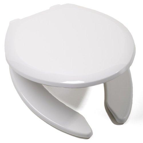 Comfort Seats C1B3E4-OS-00 EZ Close Premium Plastic Open Front Elongated Toilet Seat, White (Elongated Front Comfort Seats)