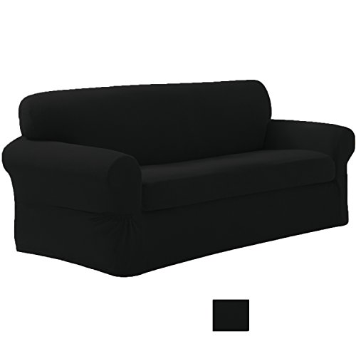 Fancy Collection Stretch to Fit Sof Slip Cover 1pc Sofa Black New Cover by Fancy Linen